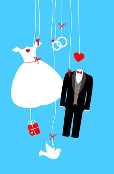 Card Hanging Wedding Symbols Retro Blue